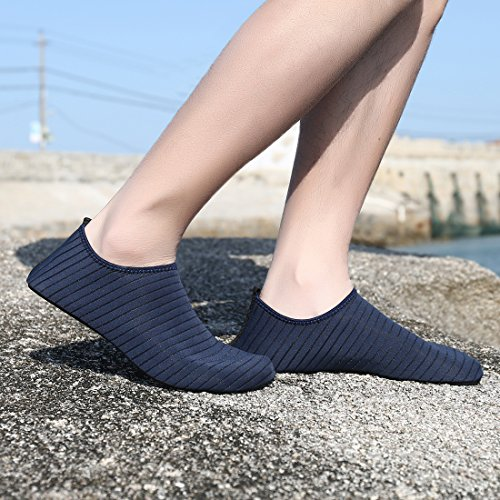 Ceyue Barefoot Water Shoes Breathable Water Sport Shoes Non-Slip Aqua Socks Beach Sandals for Men Women Navy 39/40 by Ceyue (Image #3)
