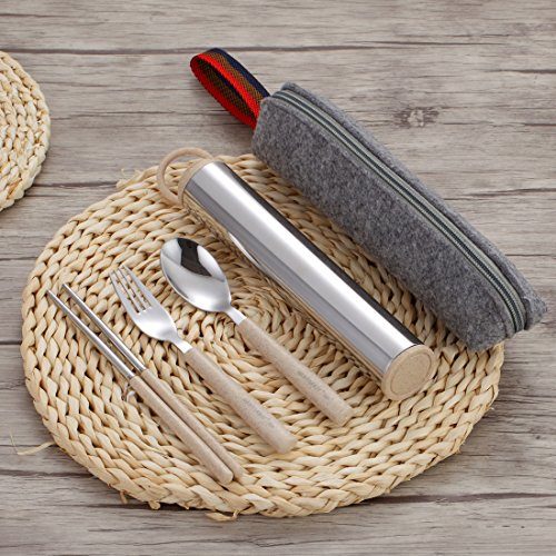 Komost Portable Flatware Set, Stainless Steel Cutlery Set, Travel Utensils Set, Fork Spoon Chopsticks Set with Carrying Case, Bag for Work & Travel by Komost (Image #1)
