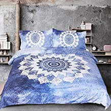 Sleepwish Vintage Floral Duvet Cover Bohemian Bedding Boho Blue Mandala Duvet Cover with 2 Pillow Cases Twin Size