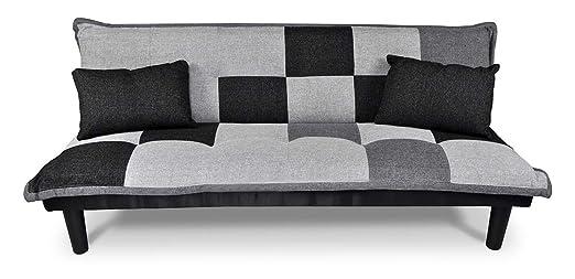 Sofá cama de tejido gris claro-negro-gris oscuro - Sofà tres ...