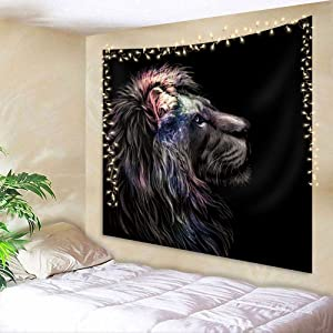 AMBZEK Lion Tapestry 51Hx59W Inch Powerful Vintage Majestic King Head Wildlife Animal Cool Galaxy Starry Sky Colorful Art Wall Hanging Bedroom Living Room Dorm Decor Fabric