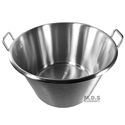 "Large Cazo Stainless Steel 21"" Caso para Carnitas Gas Heavy Duty Wok Acero Inoxidable"