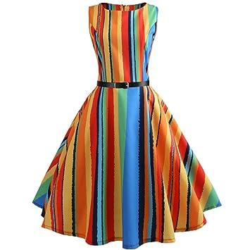 Damen Kleider, Frauen Damen Elegante Multicolor Regenbogen gestreift rund  Ausschnitt Schulterfrei Ärmellos Trägerlos Knie Länge 3e8585b078