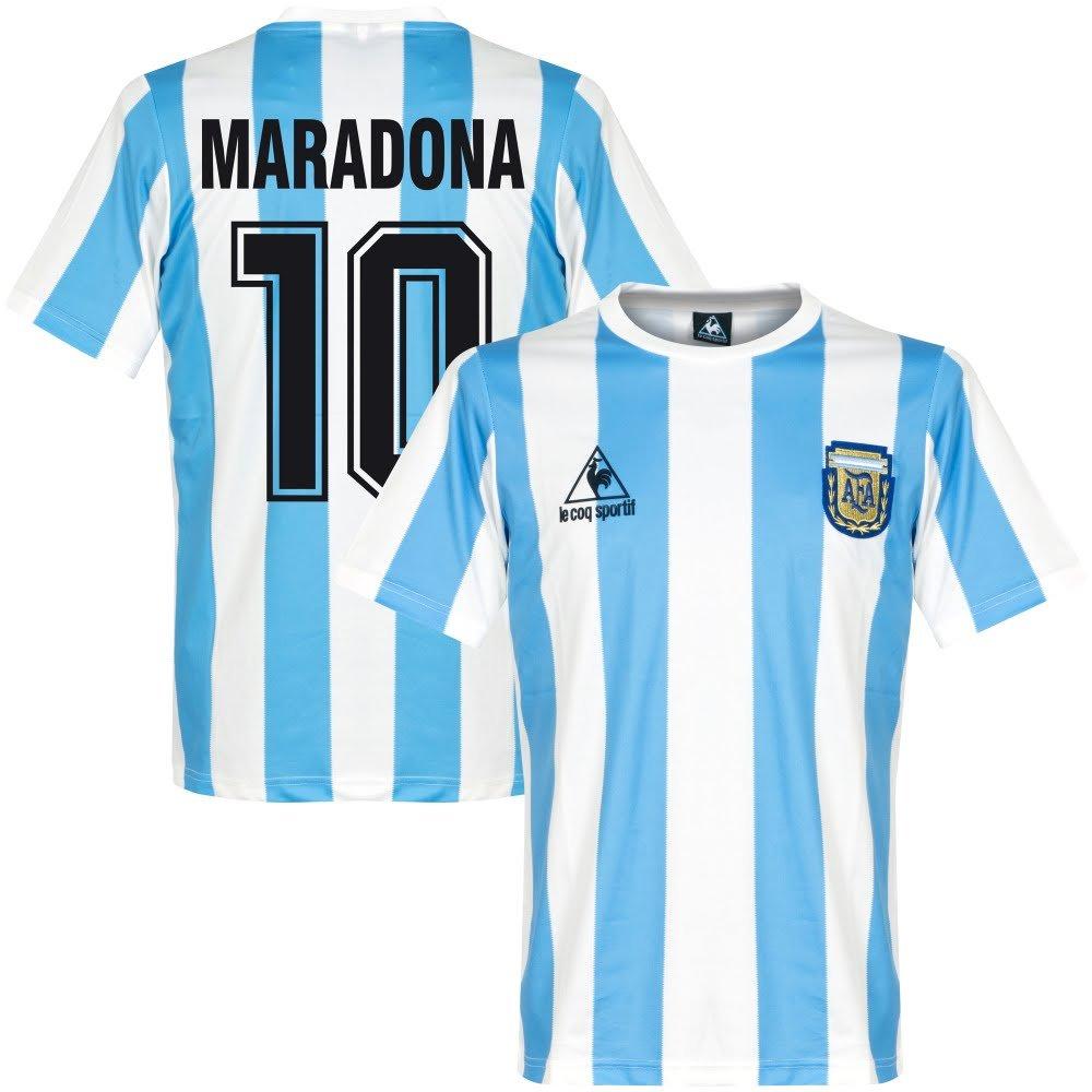 Le Coq Sportif 1986 Argentinien Home Retro Retro Retro Trikot + Maradona 10 f1e0c2