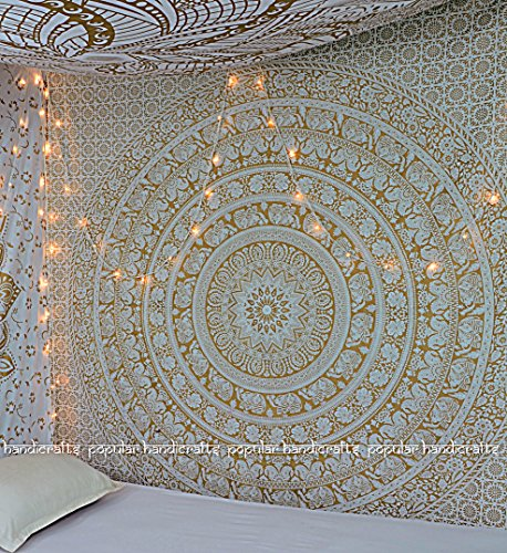 - New Launched Popular Gold Elephant Tapestry Indian Mandala Wall Art Hippie Wall Hanging Bohemian Bedspread With Metallic Shine tapestries 84x90 Inches,(215x230cms) Exclusively By Popular Handicrafts