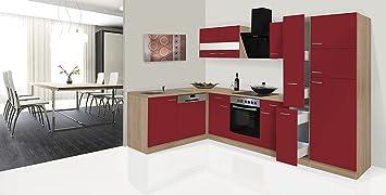 respekta Economy ángulo de l Forma de Cocina Roble Rojo 310 x 172 cm Incluye vitrocerámica