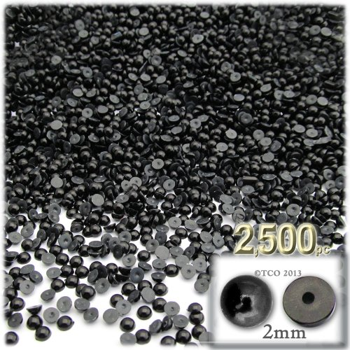 The Crafts Outlet 2500-Piece Pearl Finish Half Dome Round Beads, 2mm, Pitch (2mm Half Round Dome)