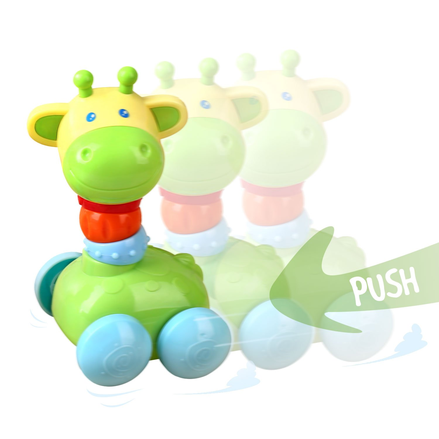 Baby Rattle Toys Play Set by Peradix - Push and Go Giraffe Car with Wheels to Grab and Spin Hand Bell Shaker Nursery Toys for Crawling Newborn Baby, Infant Toddler Gift