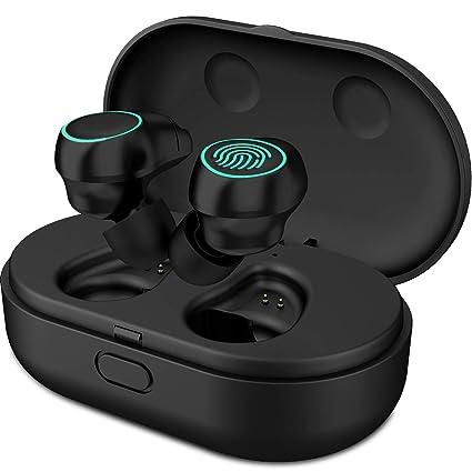 HolyHigh Auricolari Bluetooth Wireless Cuffie Sport Bluetooth V5.0 Mini  Stereo Cuffie Wireless Senza Fili con Stazione di Ricarica e Microfono  Incorporato ... 5446e231cfda