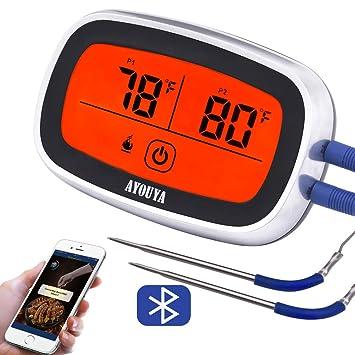 LED Funk Bratenthermometer Fleischthermometer mit Zeitmesser Grillthermometer DE