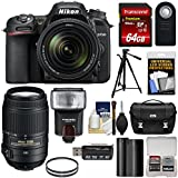 Nikon D7500 Wi-Fi 4K Digital SLR Camera with 18-140mm & 55-300mm VR DX Lens + 64GB Card + Battery + Case + Tripod + Flash + Filters + Kit