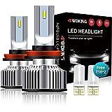 4WDKING H11/H8/H9 LED Headlight Bulbs, 1+1 Upgrade Low Beam/Fog Light with 2Pcs T10, 10000 Lumens Conversion Kit Plug and Pla