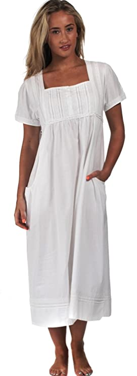 Regency Dress, Shoes | Jane Austen Clothing The 1 for U 100% Cotton Short Sleeve Nightgown with Pockets - Lara $39.99 AT vintagedancer.com