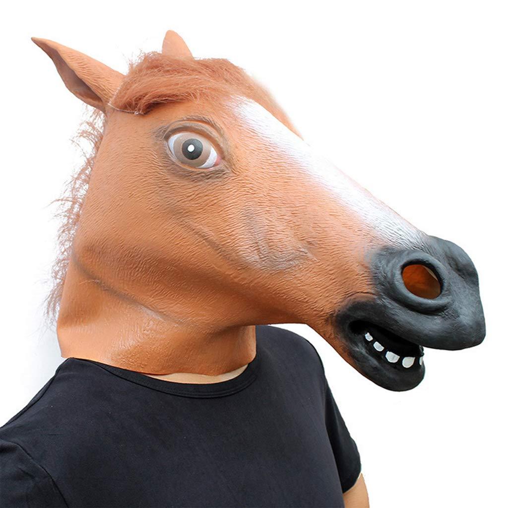 WLWWY Maske Deluxe Neuheit Kopf Latex Spielzeug Pferdekopf Maske Für Halloween-Kostüm