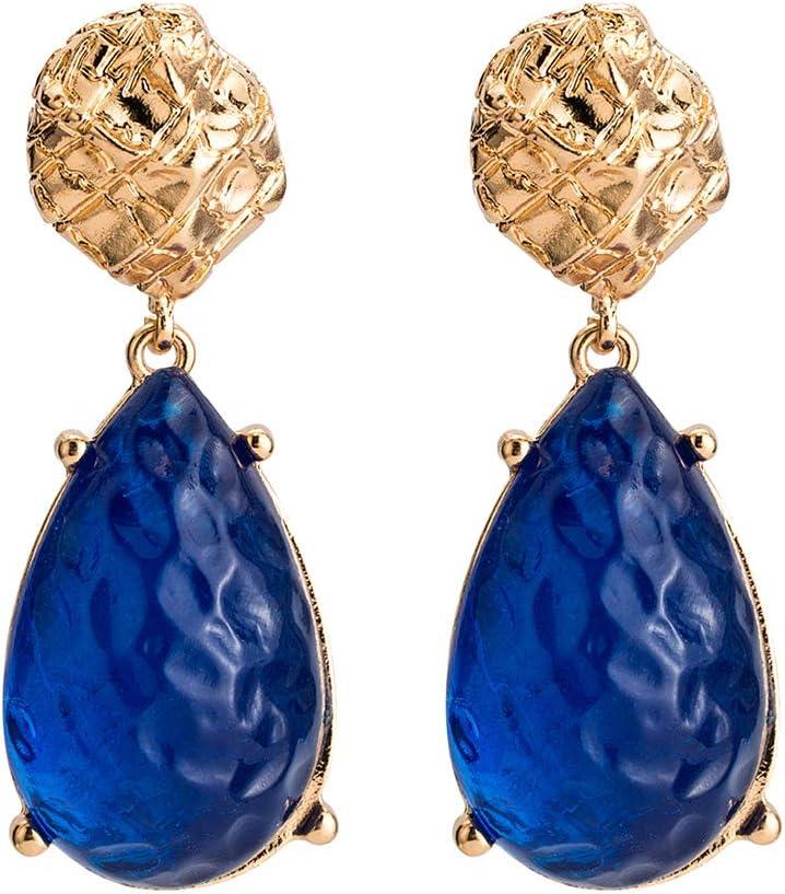 Monbedos - Pendientes de gota de agua con colgante de piedra para mujeres y niñas deep blue