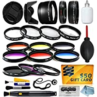 58mm Professional Lenses Filters Accessories Kit includes 0.43x Wide Angle + 2.2x Telephoto HD Lens + UV CPL Warming + Graduated 6 Piece Color Filter + Macro Close Up Set + Tulip Lens Hood + Lens Cap with Keeper + Cleaning Kit + Dustoff Blower + 50$ Digital Prints for Panasonic G VARIO 14-140mm F3.5-5.6 ASPH