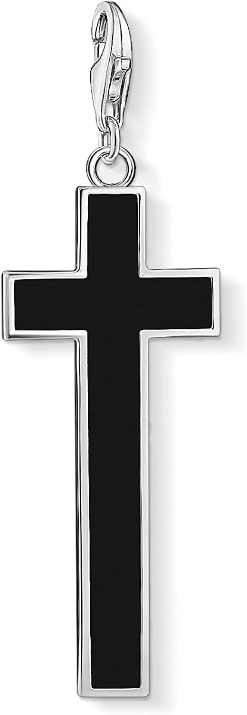 Thomas Sabo Colgante Charm Cruz Club de Mujer, Plata de Ley 925, Negro