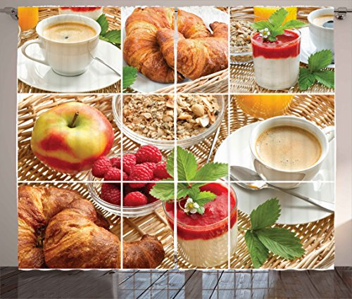 "Ambesonne Coffee Curtains, Breakfast with Coffee Croissants Orange Juice Fresh Strawberry Yogurt Oatmeal Photo, Living Room Bedroom Window Drapes 2 Panel Set, 108"" X 84"", Brown Magenta"