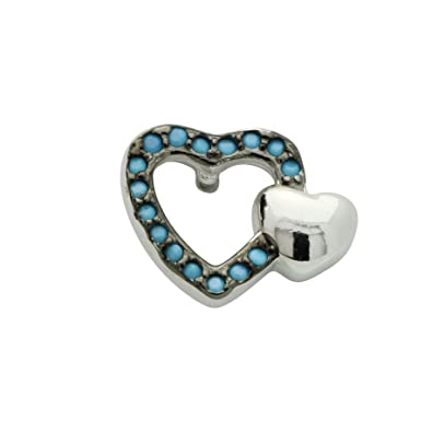 31fb283e3 Amazon.com: 925 Sterling Silver CZ Stud Earrings Double Twin Heart Design simulated  Turquoise CZ Accent: Jewelry