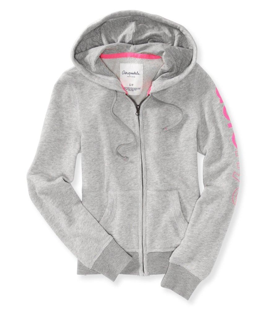 Aeropostale Womens NYC Full Zip Hoodie Sweatshirt Grey M - Juniors by Aeropostale