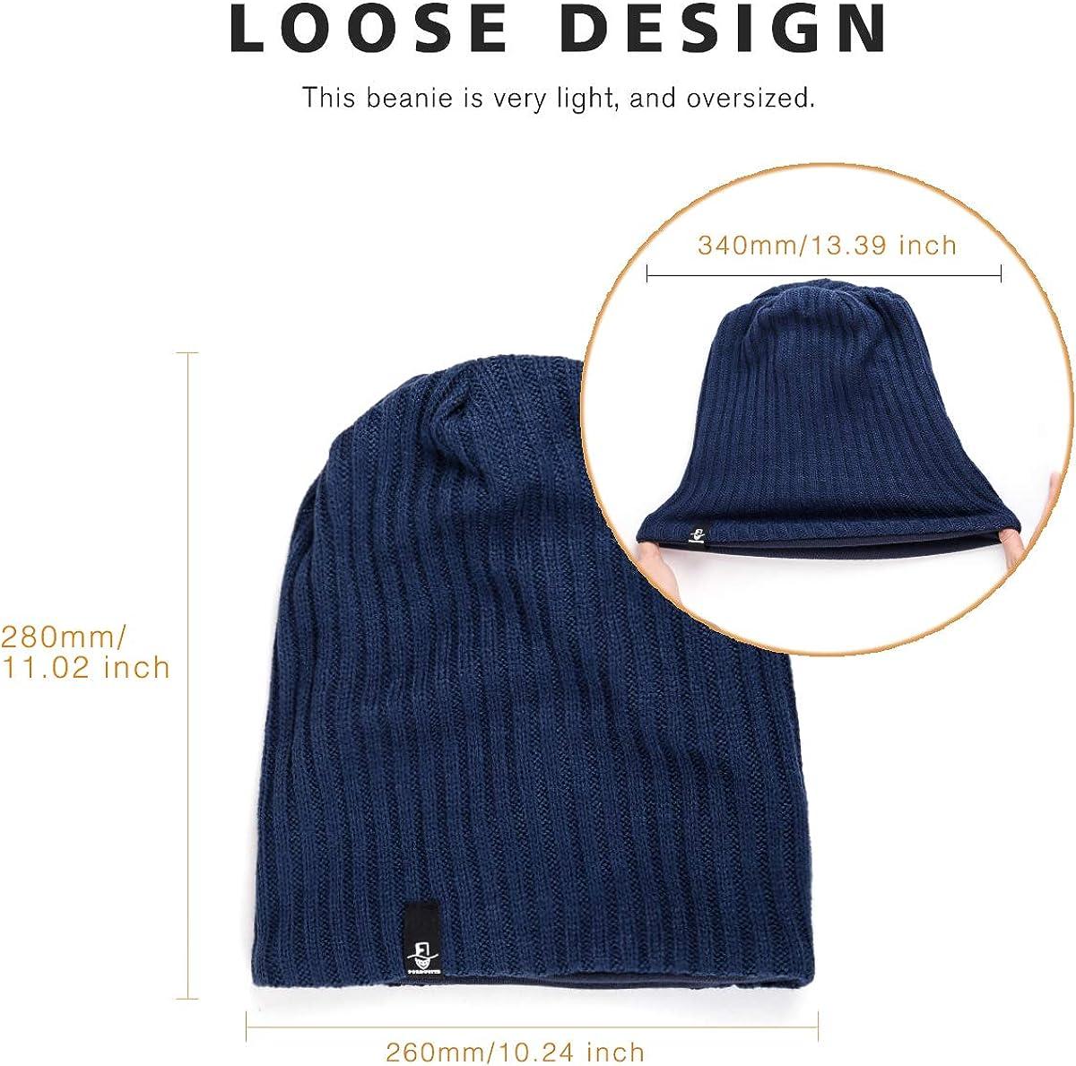 Mens Oversize Slouch Beanie Skull Cap Winter Warm Hat