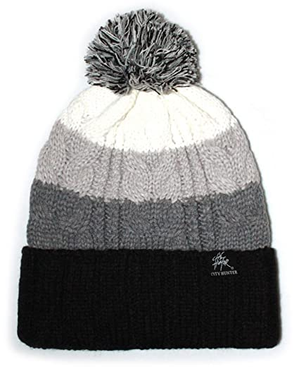 3e18892971f City Hunter Ck1050 Bold Stripe Pom Pom Knit Hat (Black) at Amazon ...