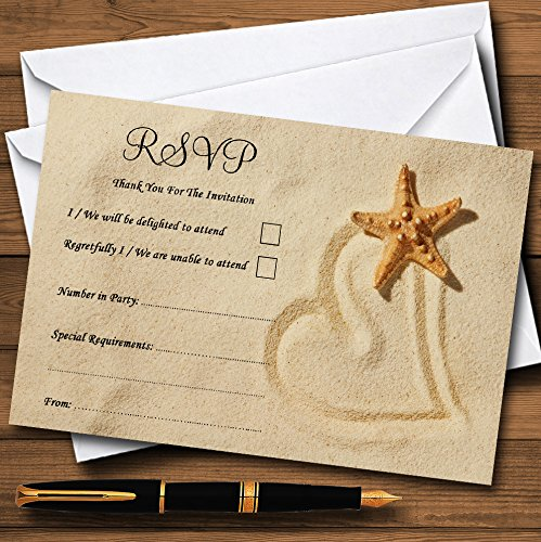 Sandy Beach Romantic Personalized RSVP Cards