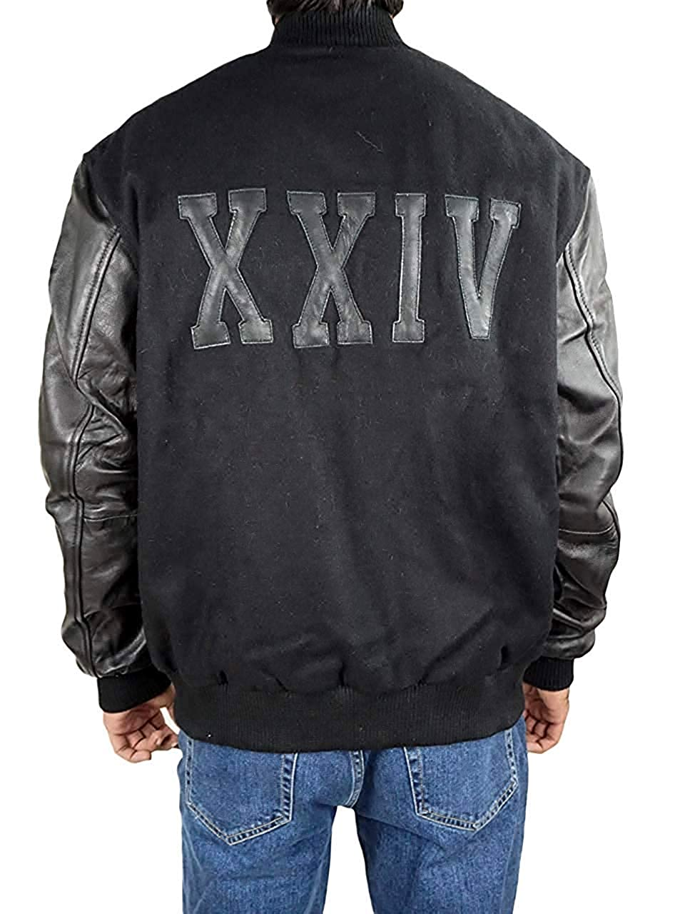 a5d2d5975cd Michael B Jordan Kobe Destroyer XXIV Adonis Creed Battle Varsity Leather  Sleeves Jacket Black at Amazon Men's Clothing store:
