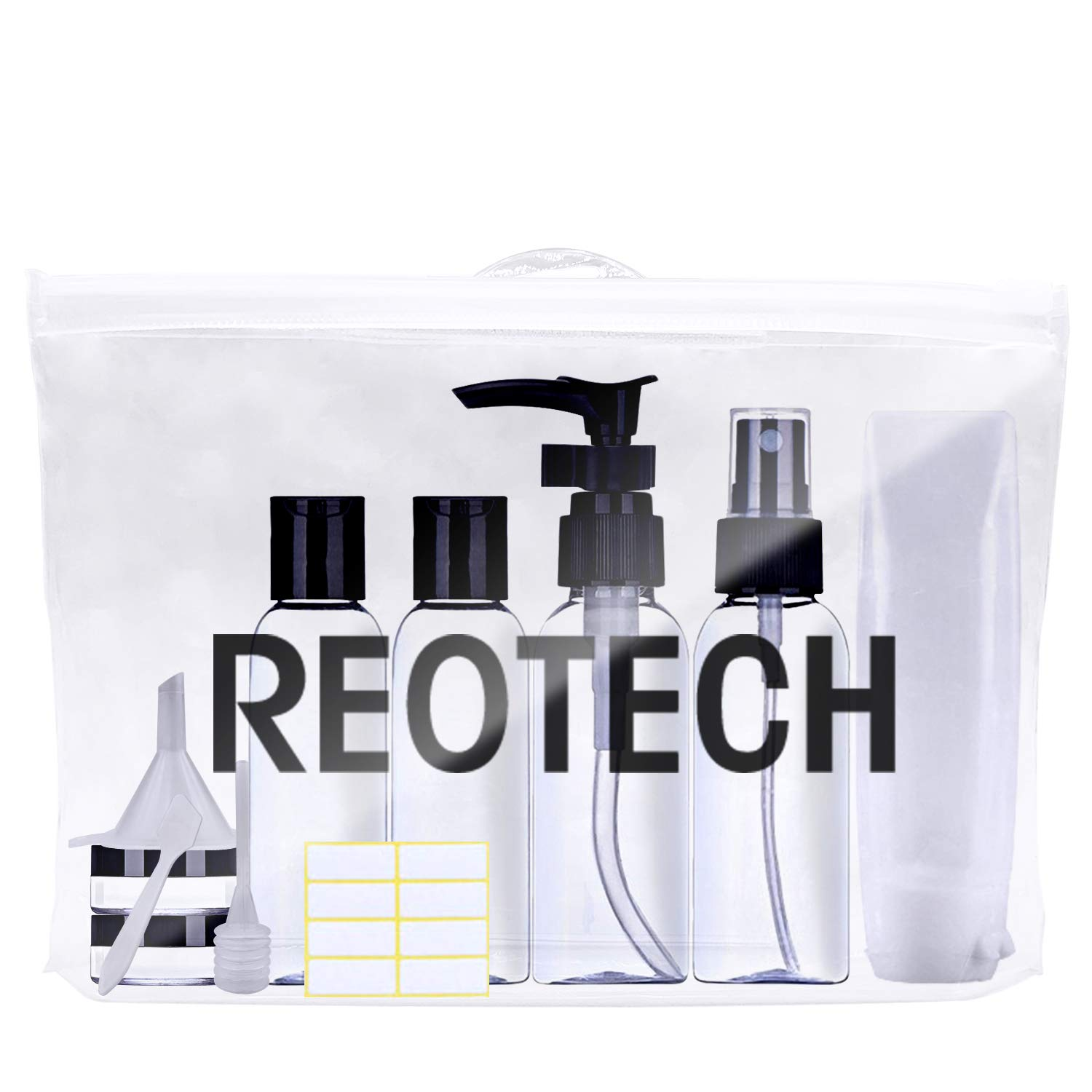 REOTECH Travel Bottles TSA Approved Toiletry Bag Clear Quart Size with Leak-Proof Travel Accessories Refillable Containers for Liquids 3-1-1 Carry-On Luggage Compliant for Airplane – Woman Man