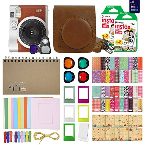 Fujifilm Instax Mini 90 Neo Classic Instant Film Camera (Brown) with 40 Instant Film + MiniMate Accessory Bundle. PU Leather Case, Frames, Retro Photo Album, Selfie Lens, Colored Filters and More