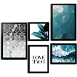 Kit 5 Quadros Decorativos Com Moldura Para Sala Quarto Abstrato Moderno Love