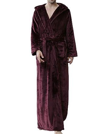 Earlish Men s Microfleece Flannel Robe Soft Warm Ultra Long Hooded Floor  Length Bathrobes 9566c5aa3