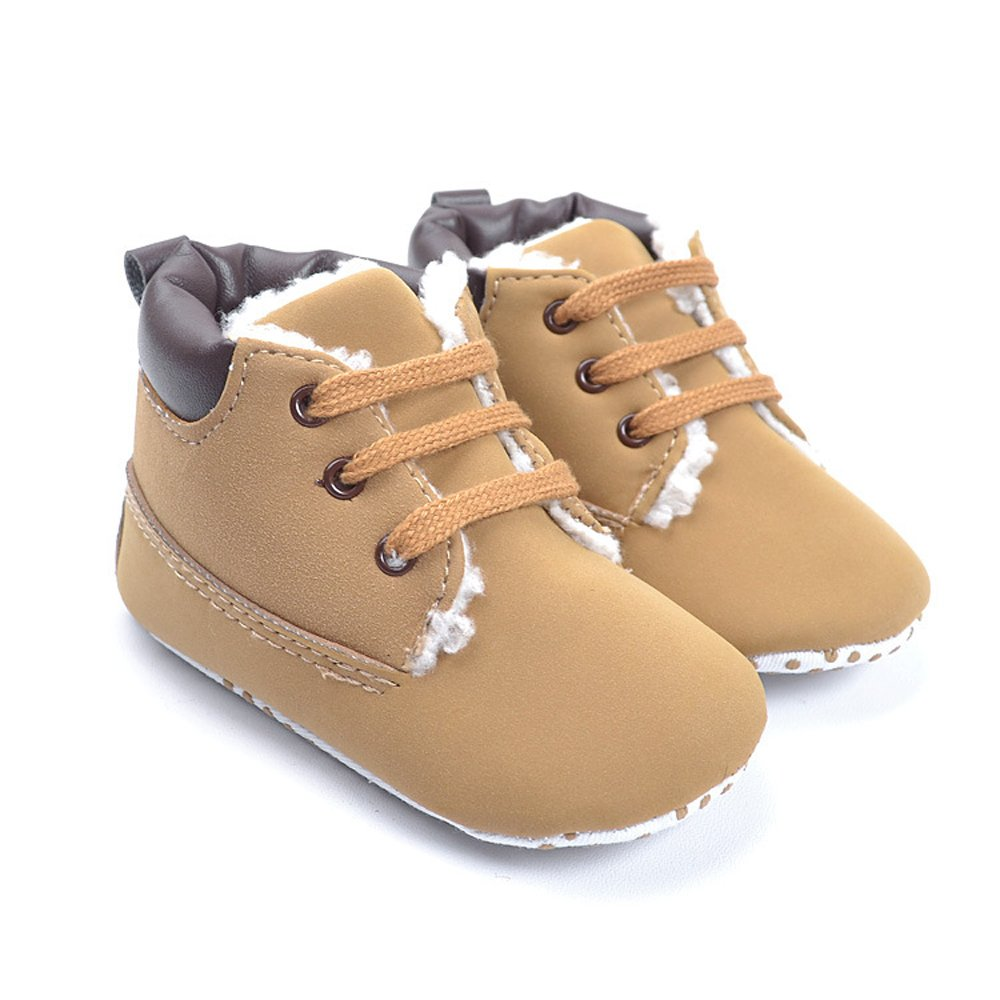Kuner Toddler Baby Boy's Brown Warm Non-Slip Snow Short Boots First Walkers Shoes(10.5cm (0-6 Months)