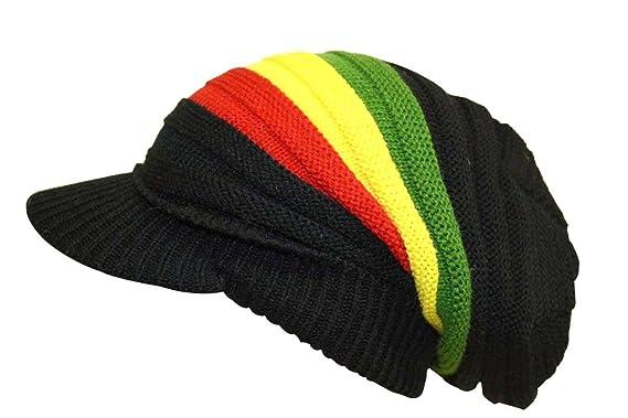 cf21870c1 Rasta Knitted Oversized Rasta stripe Slouch Beanie Cap Hat with Peak in  Black (Yellow/Red/Green)