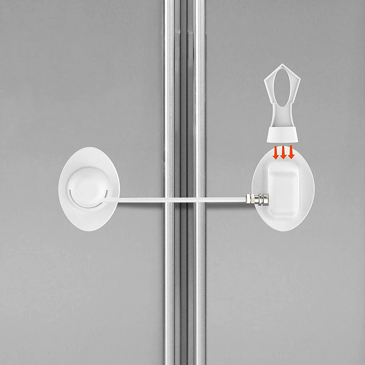 Childproof Fridge Lock with Magnetic- Strong 3M Adhesives and Cable Refrigerator Lock Super Convenience White