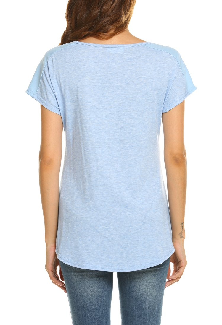 OURS Women's Casual Fashion Simple Comfy Knit Business Work T Shirt(Blue, S) by OURS (Image #4)