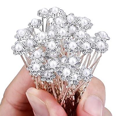 eBoot 40 Pack Wedding Bridal Pearl Flower Crystal Hair Pins Clips, White