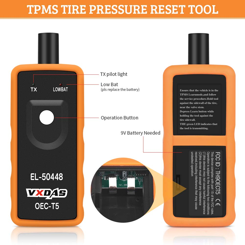 auto pressione dei pneumatici controllo sensore TPMS Relearn attivazione reset Tool for GM//FORD//BMW//TOYOTA universale serie veicoli VXDAS EL-50448