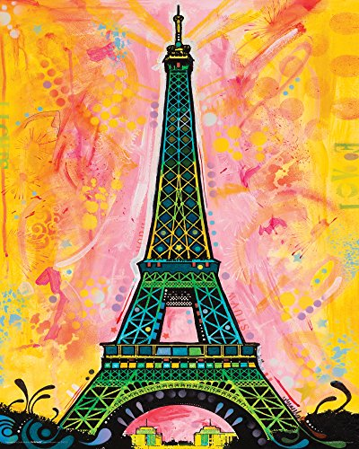 - Culturenik Dean Russo Paris Eiffel Tower Modern Travel Art Decorative Print (Unframed 16x20 Poster)