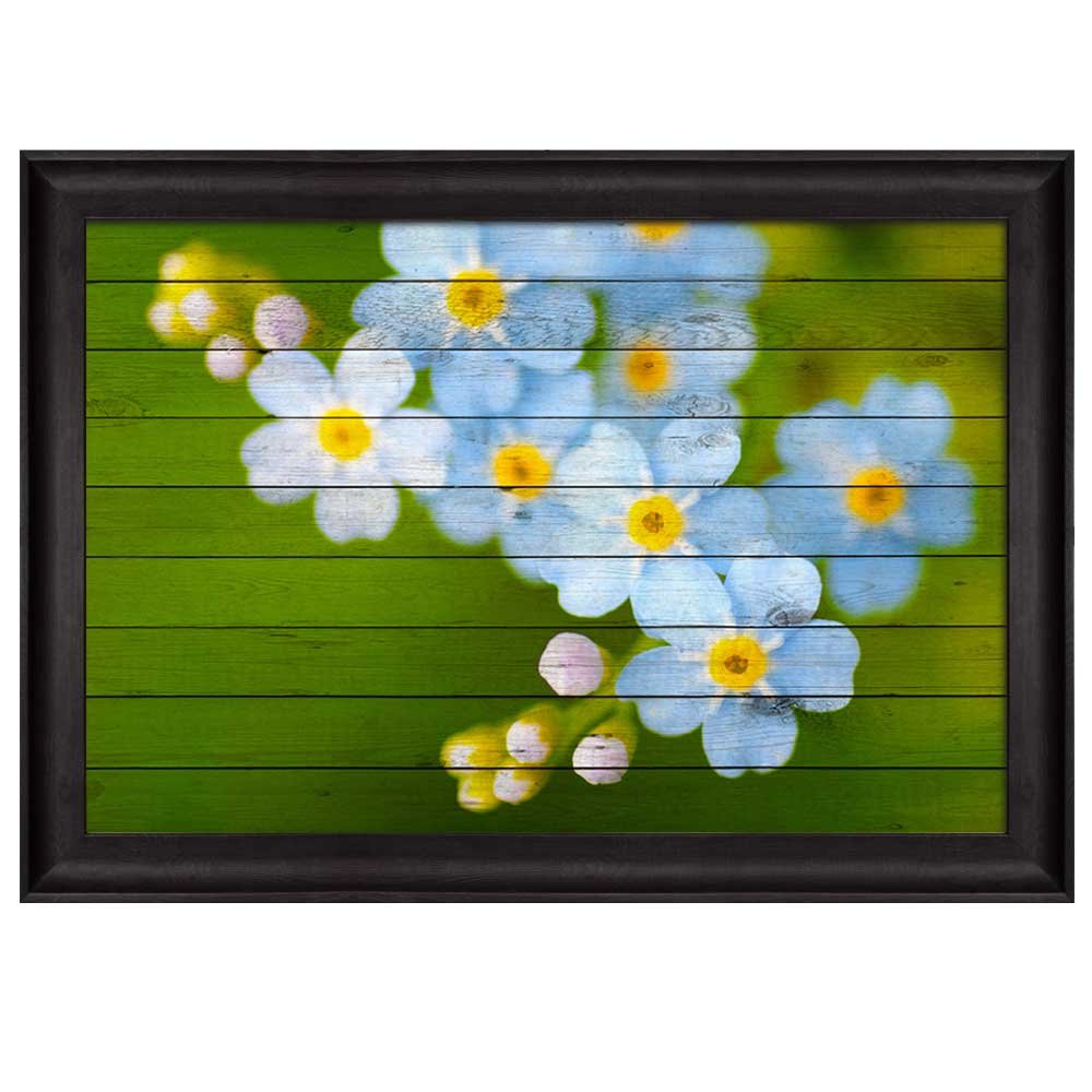 Small Blue And White Flowers Over Green Wood Panels Nature Framed