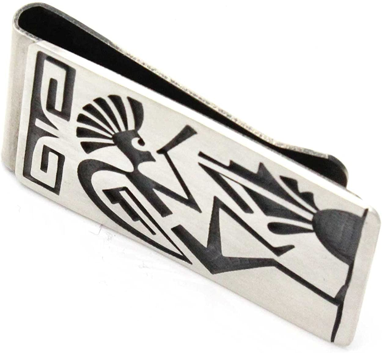 Hopi Sterling Silver Money Clip Featuring Kokopelli, Prayer Feathers and Clouds-rain…