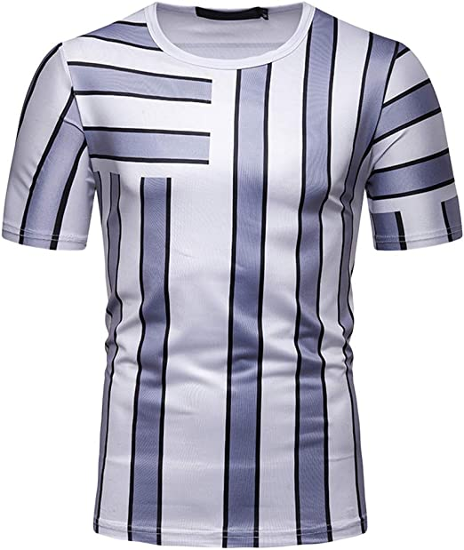 STORTO Mens Pattern Print Fit Tee Shirts Casual Short Sleeve Muscle Sports T-Shirt Tops