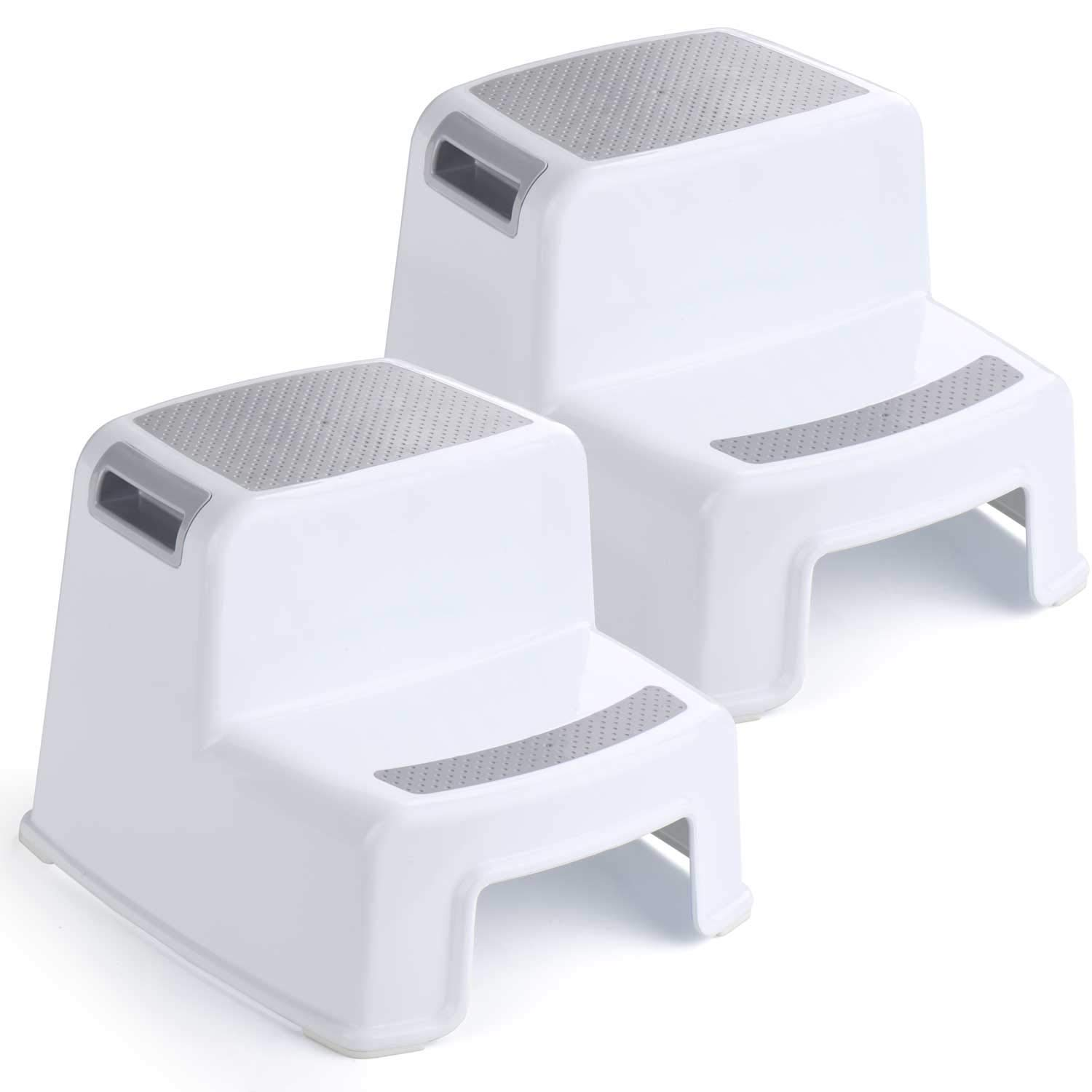 ACKO 2 Step Stool for Kids - Childrens,Toddler Stool with Slip Resistant Soft Grip for Safety as Bathroom Toilet Potty Training Stool and Kitchen Stepping Stool | Dual Height & Wide Two Step-BPA Free by Acko