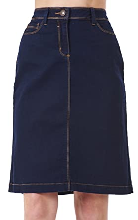 1e3b3e741b Ladies A-Line Denim Womens Blue Stretch Knee Length Midi Skirt Dark Wash 8