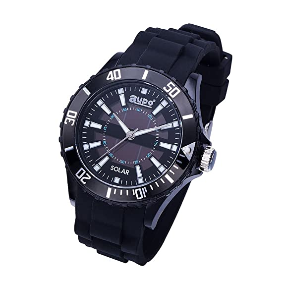 AUPO Quartz Watches, Roman Digital Casual Fashion Solar Analog Watch Waterproof 30m Waterproof Comfort Silicone