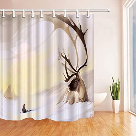 MMPTN Animal Shower Curtains For Bathroom Deer Lying On White Snow Polyester Fabric Waterproof Bath Curtain Hooks Included 71X71in