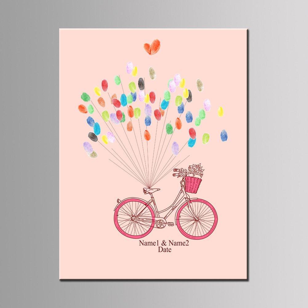 Qiulv Bicicleta Huella Dactilar Firma Lona Libro De Visitas DIY Impresión Pintura Registrarse Globo Personalizado Personalizado Boda Fiesta Cumpleaños ...