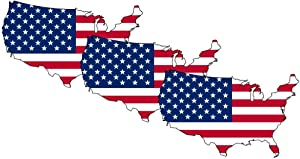 American Flag Sticker USA MAP Decal (3 Pack), US Flag Decal, Auto Decal Bumper Stickers for Cars/Truck Boats/MacBook/Laptops etc Vinyl Decal Sticker. by A-B Traders