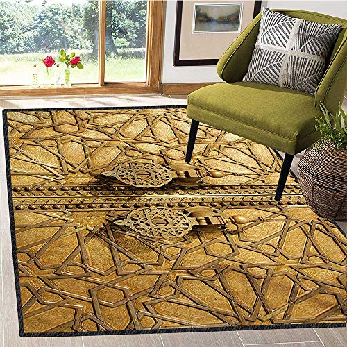 Moroccan, Area Rug Hallway Runner, Main Gates of Royal Palace in Marrakesh Morocco Travel Tourist Attraction Photo, Door Mat Indoors 4x5 Ft Pale Brown ()
