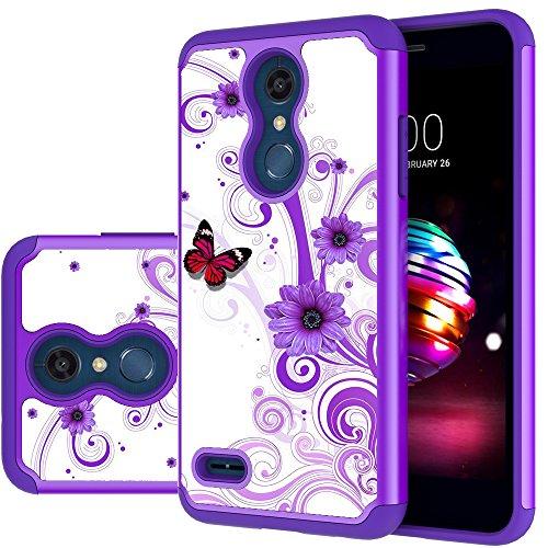 LG K30 Case, LG Phoenix Plus/LG Harmony 2/LG K10 2018/LG Premier Pro Case,MAIKEZI Hybrid Dual Layer TPU Plastic Phone Case for LG K10 Plus/LG K10 alpha 2018(Purple Flower)